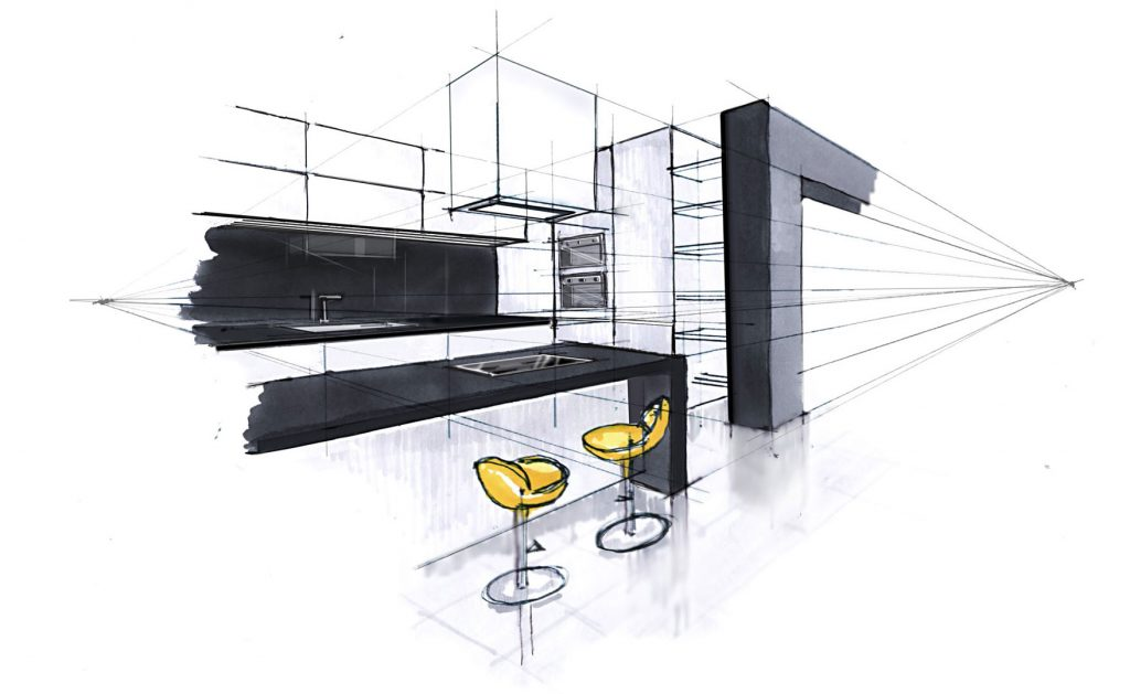 residential, house, interior, skecth